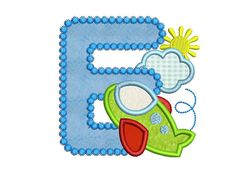 Airplane Letter H Applique Embroidery Design for by EmbroideryLand