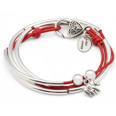 Lizzy James Mini Friendship Wrap Bracelet with Elephant Charm ($50) ❤ liked on Polyvore featuring jewelry, bracelets, elephant bangle, handcrafted jewelry, leather jewelry, charm bracelet bangle and charm bracelet jewelry
