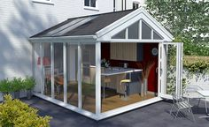 Regency solid roof conservatory with glass panels