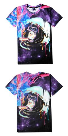2017 Brand New Space T Shirt 3d Print Galaxy Colorful Smoking Monkey T Shirt Women Men Fitness Short Sleeve Top Fashion Tees B90