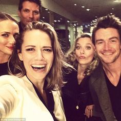 Here comes trouble! Bethany Joy was in fits of laughter as she took a group pic with fellow original castmembers Paul and Hilarie as well as later additions Shantel VanSanten (Quinn James, left) and Robert Buckley (Clayton Evans, right)