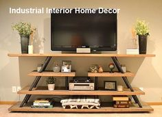 DIY Entertainment Center For Your Precious Home - vickie wilson - Ich Folge : ?DIY Entertainment Center For Your Precious Home - vickie wilson - Floating Shelves Entertainment Center, Modern Room, Industrial Entertainment Center, Living Room Modern, Living Room Entertainment Center, Home Decor, Floating Shelves Diy, Living Room Entertainment, Industrial Home Design