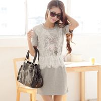 2015 summer looming new Korean version of India and lace casual knit sweet Sen dresses women