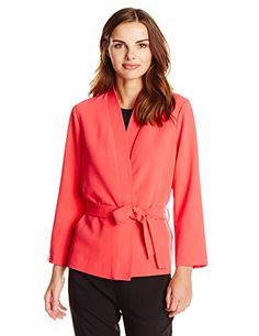 Friendshop Womens Linen 34 Sleeve Single Button Slim Fit Suit Coat Jacket Blazer -- Visit the image link more details.