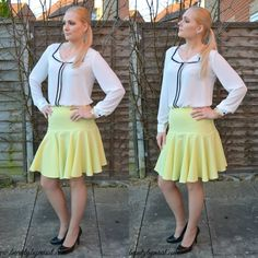 White blouse & yellow skirt  via @beautybymissl  #ootd #outfit #fbbloggers #sheinisde