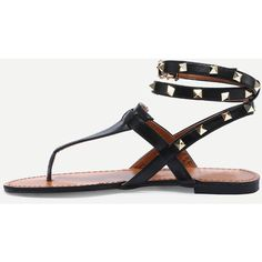 Black Studded Flat Thong Sandals ($25) ❤ liked on Polyvore featuring shoes, sandals, black, thong sandals, peep toe sandals, black t strap sandals, flat platform sandals and platform sandals