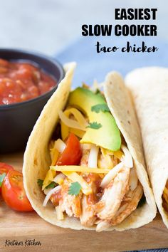 This 3 Ingredient Slow Cooker Taco Chicken is the easiest shredded chicken taco recipe! My family makes this crock pot salsa chicken almost every week! It's great for meal prep. Slow Cooker Chicken Tacos, Chicken Taco Recipes, Mexican Food Recipes, Taco Chicken, Mexican Dishes, Turkey Recipes, Chicken Cooker, Chicken Burritos, Healthy Chicken