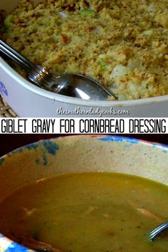 Giblet Gravy for Cornbread Dressing - SOUTHERN LADY COOKS RECIPES - Giblet gravy is a must have when you serve cornbread dressing. Easy recipe and delicious for any holiday event or occasion. Homemade Dumplings, Dumplings For Soup, Southern Dressing Recipe, Easy Gravy Recipe, Turkey Giblet Gravy Recipe Easy, Turkey Gravy, Soul Food Cornbread Dressing, Thanksgiving Potluck