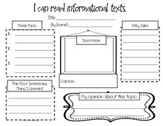 This graphic organizer is a great way for your students to respond to informational texts to show what they have learned. It could be used for independent reading, reading centers, listening to reading, or whole group reading. Second Grade: CCSS.ELA-Literacy.RI.2.5   CCSS.ELA-Literacy.RI.2.6  CCSS.ELA-Literacy.RI.2.10