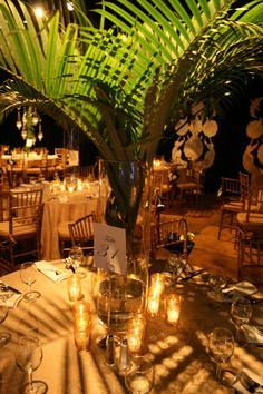 wedding centerpieces palm leaves - Google Search