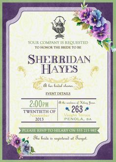 Vintage Bridal Shower  Tea Party High Tea or by WestminsterPaperCo, $20.00
