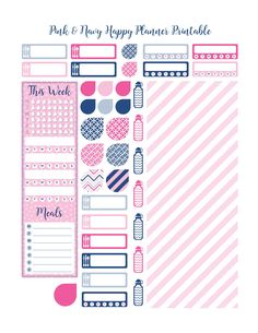 Free Happy Planner Printables---Navy-&-Pink   LifePlusPaper.com