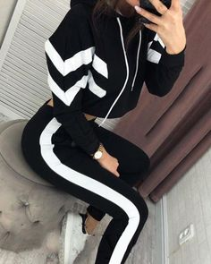 Crop Hoodie & Pants Set Women's Online Shopping Offering Huge Discounts on Dresses, Lingerie , Jumpsuits , Swimwear, Tops and More. Cute Comfy Outfits, Sporty Outfits, Swag Outfits, Stylish Outfits, Skater Outfits, Girls Fashion Clothes, Teen Fashion Outfits, Girl Outfits, Disney Outfits
