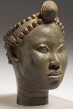 Ife Bronze : Crowned Head, 12th-14th century copper alloy ~ Head with crown, 14th - early 15th century copper alloy