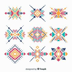 Imágenes similares, fotos y vectores de stock sobre Native tribal pattern set. Colorful geometric design, aztec and indian culture design collection and ornament. Flat style vector logo isolated on white background. Native American Patterns, Native American Symbols, Ethnic Patterns, Textures Patterns, Pattern Art, Pattern Design, Vector Pattern, Hand Embroidery, Embroidery Designs