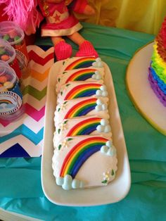 Pretty cookies at a Rainbow Brite birthday party! See more party planning ideas at CatchMyParty.com!