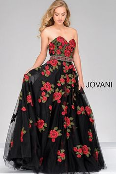Jovani 45741 strapless tulle ball gown with elegant floral embroidery throughout the gown.