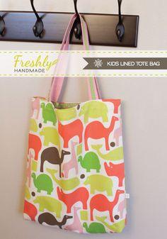 Freshly Handmade: Kids Lined Tote Bag Tutorial