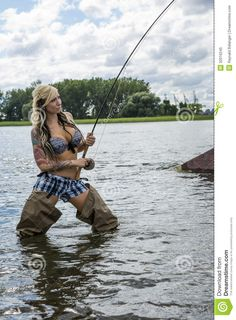 Photo about Beautiful young woman with capture on fly fishing. Image of lure, flow, attention - 32016245 Fly Fishing Girls, Fly Fishing Basics, Fishing 101, Gone Fishing, Best Fishing, Trout Fishing, Kayak Fishing, Bikini Fishing, Fishing Stuff