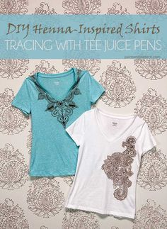 DIY Henna inspired tee shirts using Tee Juice Pens