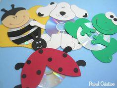 comment faire animaux chiot abeille grenouille coccinelle eva cd recyclage utilisée (10)