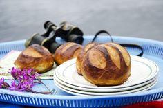 pretzelboller 2 Pretzel, French Toast, Muffin, Good Food, Food And Drink, Summer Feeling, Breakfast, Baking Soda, Morning Coffee