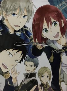 Akagami no Shirayukihime / Snow White with the red hair anime and manga Prince Zen, Shirayuki, Obi, Mitsuhide, and Kiki~ I love this so much! I want this poster Otaku, Kawaii, Manga Anime, Manga Hair, Anime Snow, Pink Hair Anime, Desenhos Love, Akagami No Shirayukihime, Snow White With The Red Hair