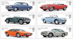 COLLECTORZPEDIA: UK Stamps British Auto Legends Uk Stamps, Postage Stamps, Morgan Plus 8, Rolls Royce Silver Shadow, Mg Mgb, Lotus Esprit, Aston Martin Db5, Jaguar E Type, Digital Stamps