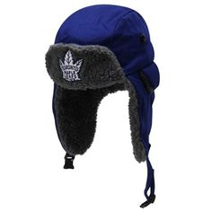 Mitchell & Ness Toronto Maple Leafs Vintage Team Logo Winter Trapper Hat - Navy Blue Trapper Hats, National Hockey League, Toronto Maple Leafs, New T, Fan Gear, Hats For Men, Nhl, Team Logo, Winter Hats