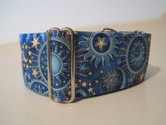 2 inch Martingale Collar, Sun, Moon, Celestial, Blue, Gold, Greyhound Collar, Dog Collar, Greyhound Martingale Collar  $19.99