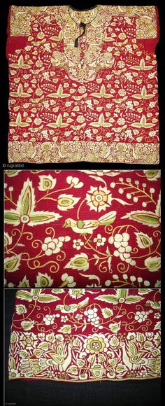 India, Surat Gujarat, Parsi embroidery jabla dress. Early 19th century
