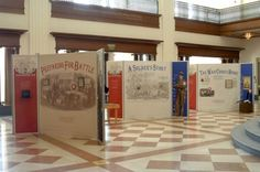 Traveling Exhibits — Indiana Historical Society. The panels are arranged in various shapes to create an interesting exhibit space.  Hollow core doors can be used the same way.