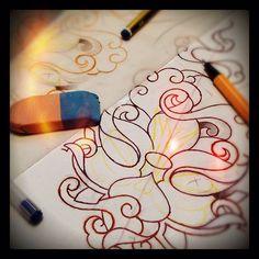 Sketchin' (02/2012) Photo by inkjunkies • Instagram  #lotus #flower #smoke #psychedelic #oriental #tattoo #sketch #2012