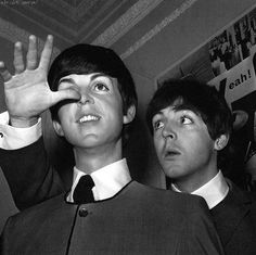 Paul thumbs his nose with his wax figure