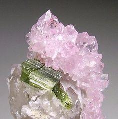 Rose Quartz and Green Tourmaline