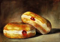Two Jelly Doughnuts II, Oil on Panel, 24 x 33 1/2