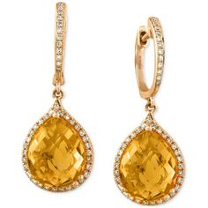 GABRIELLE'S AMAZING FANTASY CLOSET | Effy Citrine (6-1/5 ct. t.w.) and Diamond (1/4 ct. t.w.) Drop Earrings... ($1,075) ❤ liked on Polyvore featuring jewelry, earrings, yellow gold, 14k earrings, drop earrings, 14k gold earrings, 14k gold jewelry and gold earrings | You can see the rest of the Outfit and my Remarks on this board. - Gabrielle