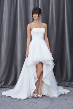 Hi-low strapless wedding gown for the playful bride!