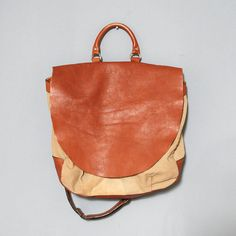Brown Leather and Canvas Vintage Satchel