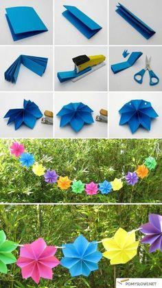 Dekoracje z papieru ---- Papiergirlande mit Blumen - sehr schön ---- paper garland flowers - pretty