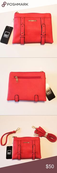 """MKF Collection 3-in-1 Red purse - NWT This Mia K. Farrow purse is """"just the right"""" size for everyday use. You can carry all of the essentials without the need to carry a large crossbody bag. *Fabric lining *Gold-tone hardware details *Two compartments with top zippered closure *Pockets: Slip-in and zippered interior pockets, exterior features a zippered pocket on the back *Adjustable and removable 48"""" shoulder strap, and removable wristlet strap *6.5"""" (H) x 8"""" (W) x 2.5"""" (D) MFK Bags"""