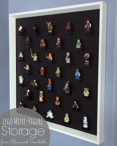 Clean & Scentsible: Lego Mini-Figure Storage.  Great way to display mini-figures while still keeping them accessible to little hands! #lego #minifigures #organization