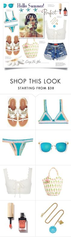 """Hello Summer!"" by jessicad110916 ❤ liked on Polyvore featuring Max&Co., kiini, Gentle Monster, Marysia Swim, Levi's, rockflowerpaper and Brent Neale"