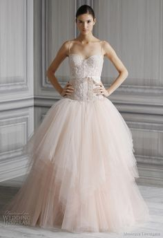 pink wedding dresses monique lhuillier