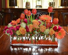 roses, gerbera and tulips. One of my favorite color combinations- pink, orange and green- joy and happiness personified