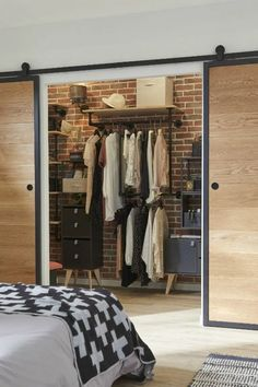 35 creative bedroom wardrobe design ideas that inspire on 9 Small Apartment Bedrooms, Small Room Bedroom, Small Apartments, Home Bedroom, Bedroom Decor, Bedroom Divider, Master Room, Room Dividers, Master Suite