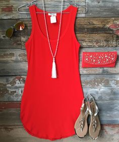 Fun in the Sun Tank Dress: Red Orange - moda Cute Summer Outfits, Spring Outfits, Cute Outfits, Casual Summer, Summer Dresses, Cute Dresses, Casual Dresses, Casual Outfits, Fitted Dresses