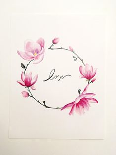 Your place to buy and sell all things handmade - Purple Magnolia valentines day PRINT - Realistic Flower Tattoo, Small Flower Tattoos, Flower Tattoo Designs, Small Tattoos, Cute Tattoos, Beautiful Tattoos, Body Art Tattoos, Sleeve Tattoos, 3d Tattoos