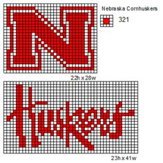 Nebraska cross stitch or needle point  pattern..can also be used for  filet crochet pattern as well.