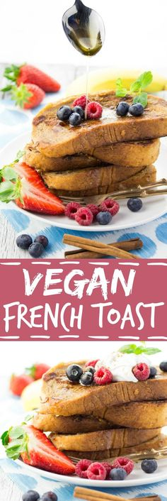 This vegan French toast with coconut cream and berries is super easy to make and so delicious! No eggs or milk required!This vegan French toast with coconut cream and berries is super easy to make and so delicious! No eggs or milk required! Vegan Treats, Vegan Foods, Vegan Dishes, Vegan Desserts, Easy Desserts, Vegan French Toast, French Toast Bake, Dessert Simple, Dessert Food